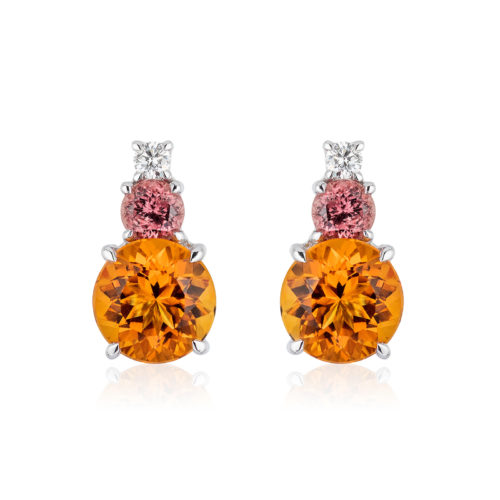 """Triple Gem Earrings in 18 karat white gold featuring 6.80-carat pair of Citrine (10mm round), 1.37-carat pair of rare """"Umba"""" Sapphires (5 mm round) and 0.21-carat Diamond accent; post with large friction back."""
