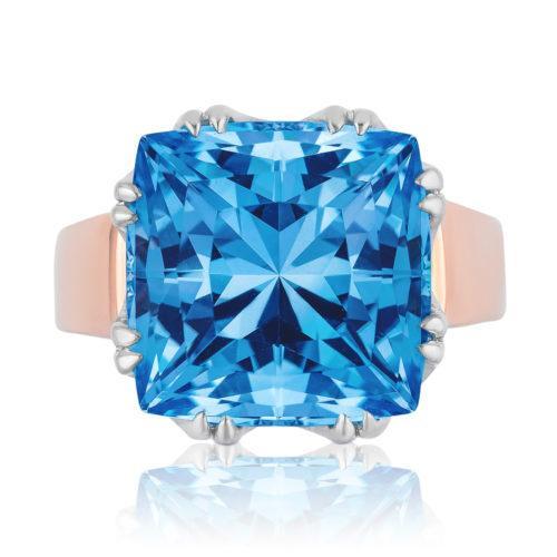 """""""Trellis"""" ring featuring 32.37 carats Blue Topaz set in 18 karat white gold basket with 18 karat rose gold shank"""