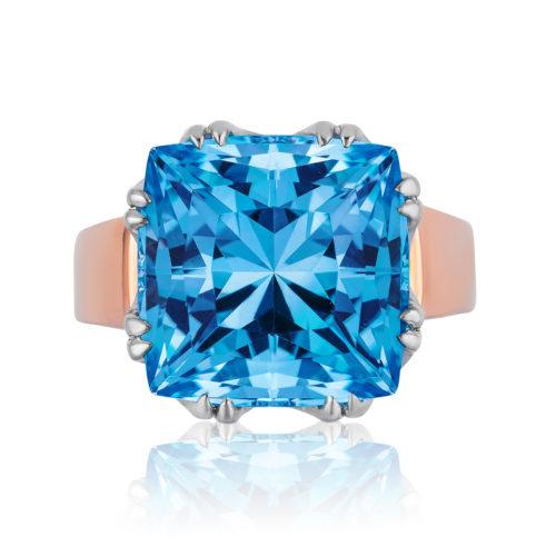"""""""Trellis Ring"""" featuring cushion-cut 14.11 carats Blue Topaz set in 18 karat white gold basket with 18 karat rose gold shank"""