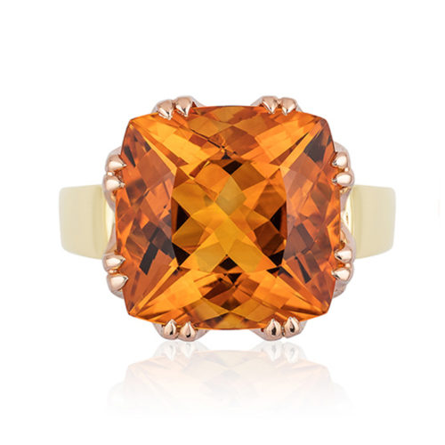 "This ""Trellis"" ring features a 5.0 carat Citrine (10.4 mm cushion-cut) set in 18-karat rose gold basket with 18-karat yellow gold shank."