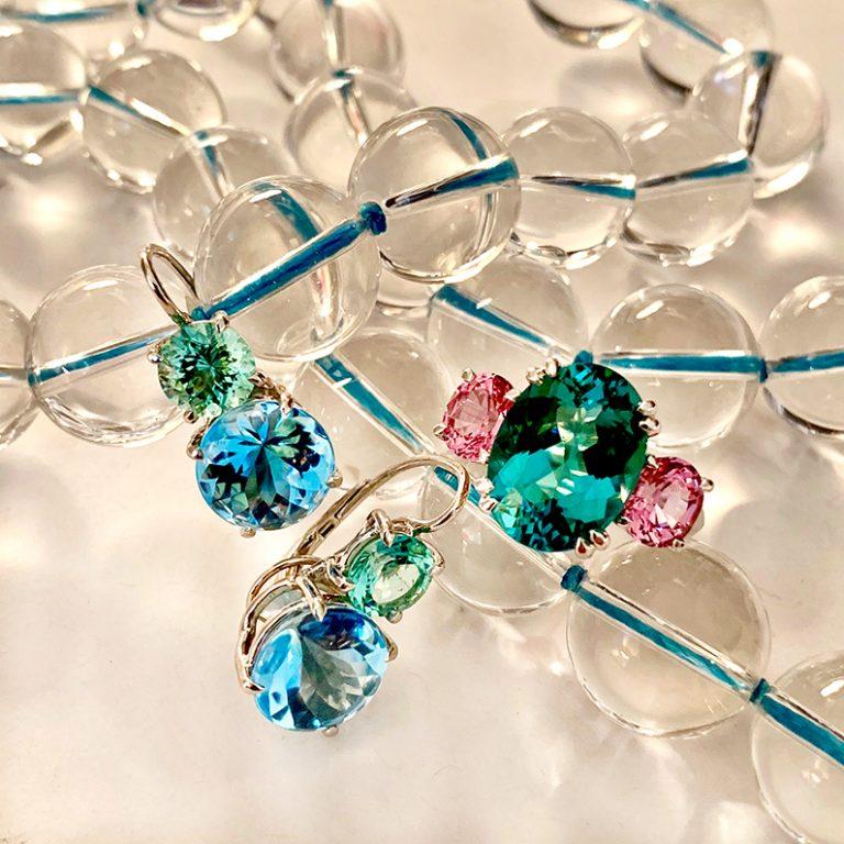 Swan-Neck-Earrings-Blue-Topaz-and-Minty-Green-Tourmaline-cynthia-renee