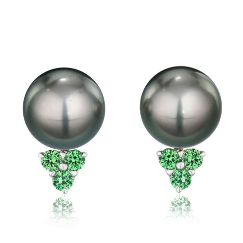 Tsavorite Garnet Jackets for 12-13 mm pearls in 18 karat white gold featuring six round tsavorite garnets weighing a total of approximately 0.66 carats.