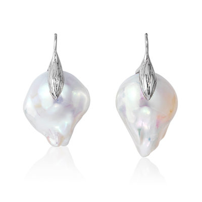 "Large and luminous white, 15x21mm, baroque ""fireball"" pearl earrings crafted with a leaf motif in 18-karat white gold; we make our swan-neck wire that goes through the ear shorter than most, so the earrings hang correctly and don't pull the earlobe."