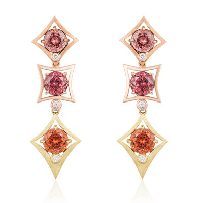 """Charmed Life"" Earrings in 18-karat yellow gold and 14-karat rose gold featuring three pairs of color variegated Zircon (Tanzania) weighing  a total of 18.46 cts.; accented by six round white diamonds weighing a total of 0.35 cts.;"