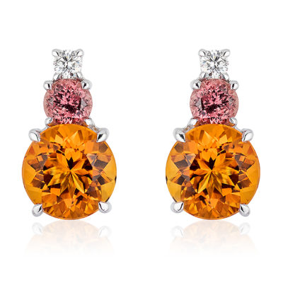 "Triple Gem Earrings in 18 karat white gold featuring 6.80-carat pair of Citrine (10mm round), 1.37-carat pair of rare ""Umba"" Sapphires (5 mm round) and 0.21-carat Diamond accent; post with large friction back."