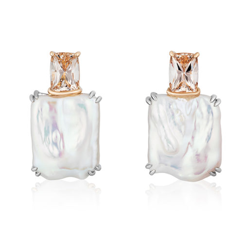 Pair of 18 karat white gold & rose gold earrings featuring a pair of rectangular white freshwater pearls (B) measuring 18mm x17mm and 7.46 ct. pair Peach Topaz cushions; post with alarge parabolic back.