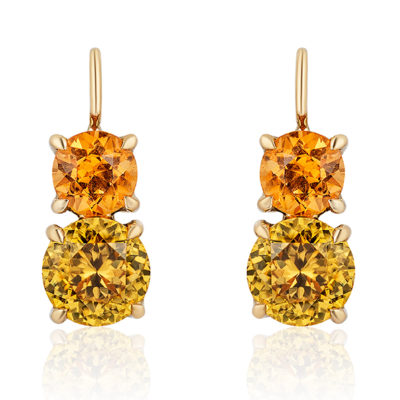 "Swan-neck ""Double Drop"" earrings in 18 karat yellow gold featuring 2.18 carat pair of vivid  Spessartite Garnets (6mm round) accented by 3.94 carat pair of Yellow Zircon (7.5mm round); ""swan-neck"" wires have locking backs."