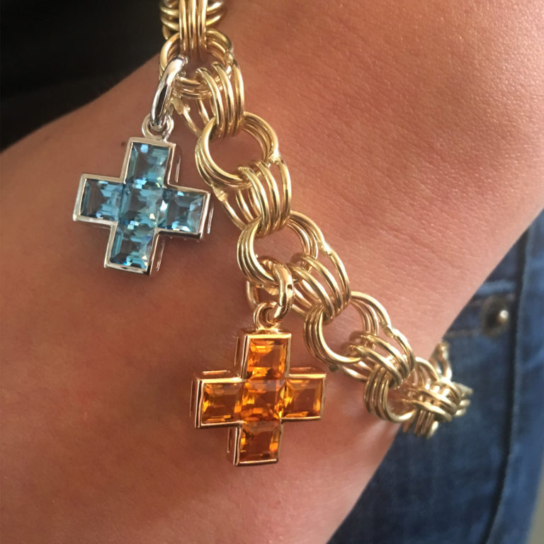 Five Stone Cross Pendant Bracelet