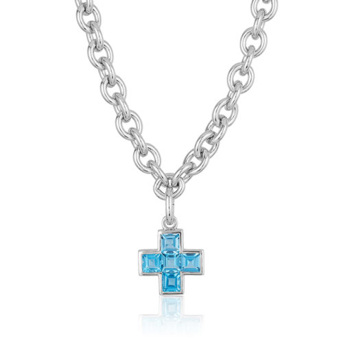 """Five Stone Cross"""" pendant featuring five Blue Topaz weighing a total of 4.22 carats set in 18 karat white gold."""