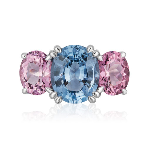 """The """"Heaven & Earth"""" ring in palladium featuring 3.18 carats Blue Spinel (Sri Lanka) and apair of 3.35-carat Pink Garnets (Tanzania); size 7 but can size to fit."""