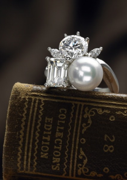 Round-and-Emerald-Cut-Diamonds-with-Pearl-Custom-Ring-by-Cynthia-Renee