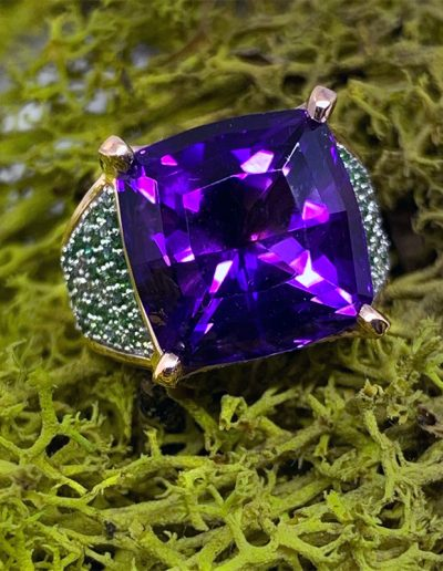 Full Custom Design Ring by Cynthia Renee featuring 12.57 carat Amethyst (mined in Jackson's Crossroads, Georgia, USA) set with multi-hues of 1.2-1.3 mm round, pave-set Tsavorite in 14-karat rose gold.