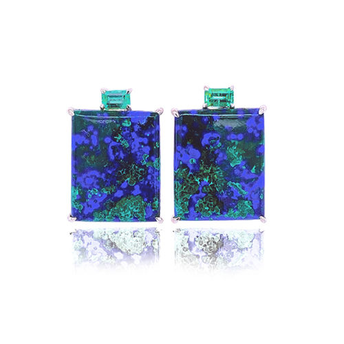 Gia Earring Featuring Natural Azurite-Malachite And glowing Emerald