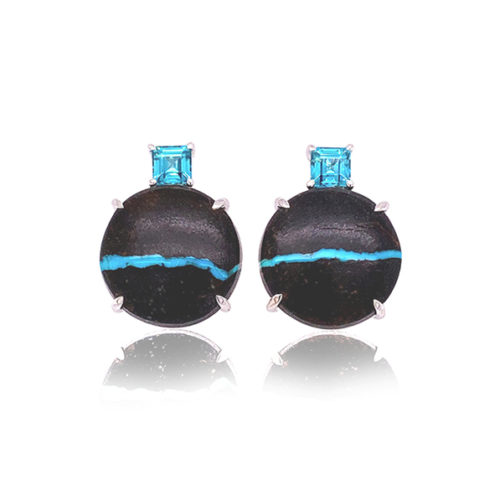 Gia Earring Featuring Natural Turquoise And Blue Zircon
