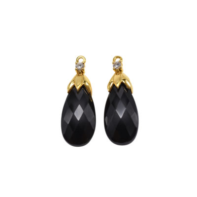 Sepal Gem Drops in 18 karat yellow gold featuring 23.52 carats Black Spinel faceted briolettes accented by pair of 0.14 carat round diamonds.