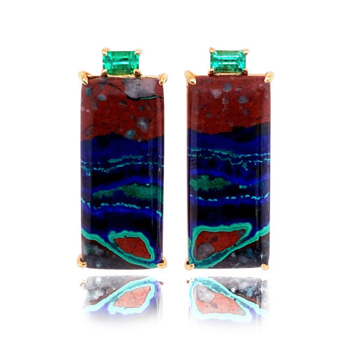 Gia earrings in 18 karat white gold featuring natural Azurite-Malachite accented by a pair of glowing Emeralds.