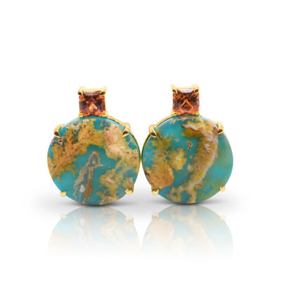 """Gia earrings in 18 karat yellow gold featuring a 14.36 carat pair of """"Coral Sea Turquoise"""" accented by a 2.16 carat pair of Bronze Zircon from Tanzania."""