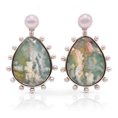 "Phoenix earring in 18 karat white gold featuring 23.14 carats pair of ""Coral-Sea Turquoise"" haloed by 2 mm freshwater pearls suspended from a 7 mm luminous, freshwater pearl stud."