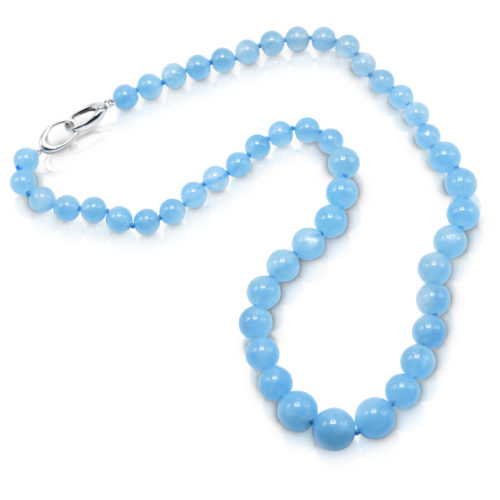 Bead necklace consisting of 51 round, smooth, Aquamarine beads graduating in size from 8.5-12 mm, strung on a knotted thread with an 18 karat white gold trigger clasp; necklace 21 inches long.
