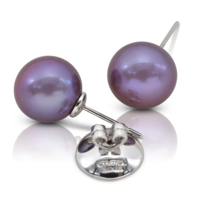 """Pair of Purple Freshwater Pearls, 12x13 mm, on 18 karat yellow gold removable """"Progressive Pearl"""" posts with 12 mm parabolic friction backs; natural color."""