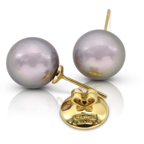 """Pair of Pinkish-Purple Freshwater Pearls, 12x13 mm, on 18 karat yellow gold removable """"Progressive Pearl"""" posts with 12 mm parabolic friction backs; natural color."""