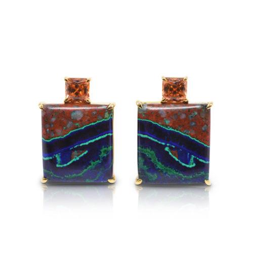 Gia Earring Featuring Natural Azurite-Malachite And Bronze Zircon