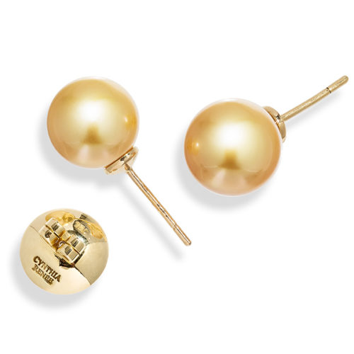 """Pair of Golden South Sea Pearl earrings, size 11.5 mm, on 18 karat white gold removable """"Progressive Pearl"""" posts with 12 mm parabolic friction backs."""