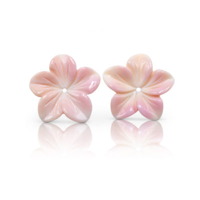 Floral earring jacket pair hand-carved in Peruvian Pink Opal, approximately 1-inch diameter.