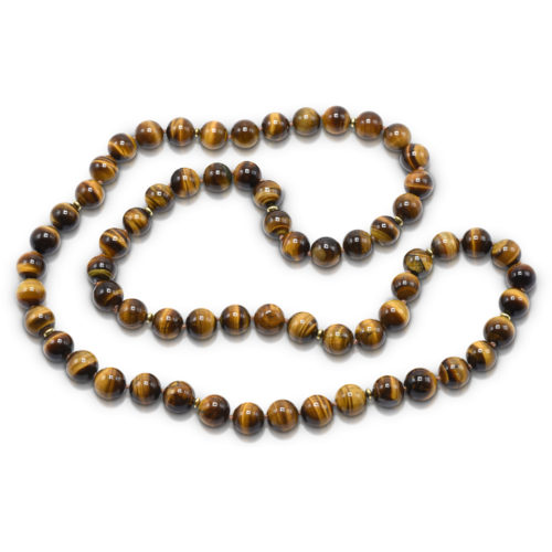 Bead Necklace consisting of 65 pieces of 12-mm Tiger's Eye smooth round beads knotted on brown thread with 13-20 karat yellow gold over silver saucer beads; continuous strand - no clasp.