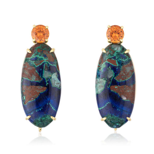"""""""Gia"""" earrings in 18 karat yellow gold featuring natural Azurite-Malachite accented by a pair of spicy Spessartite Garnet."""