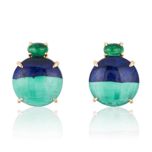 """""""Gia"""" earrings in 18 karat rose gold featuring natural Azurite-Malachite accented by a pair of glowing Emerald cabochons."""