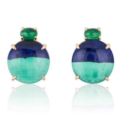 """Gia"" earrings in 18 karat rose gold featuring natural Azurite-Malachite accented by a pair of glowing Emerald cabochons."