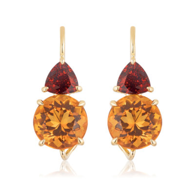 "Swan-neck ""Double Drop"" earrings in 18 karat yellow gold featuring a 5.39 carat pair of Citrine (9-mm round) accented by a 1.64 carat pair of Spessartite Garnet."