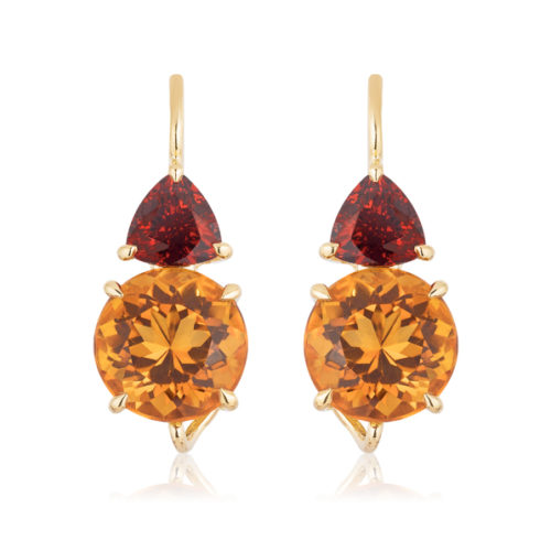 """Swan-neck """"Double Drop"""" earrings in 18 karat yellow gold featuring a 5.39 carat pair of Citrine (9-mm round) accented by a 1.64 carat pair of Spessartite Garnet."""