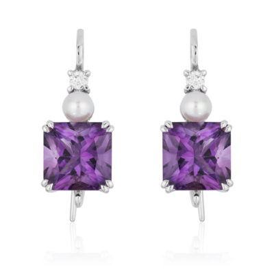 "Triple Gem ""Swan-neck"" Earrings in 18 karat white gold featuring 6.03 carats pair of Amethyst accented by 4.5-mm white Akoya pearls and 0.12 carats of diamonds."