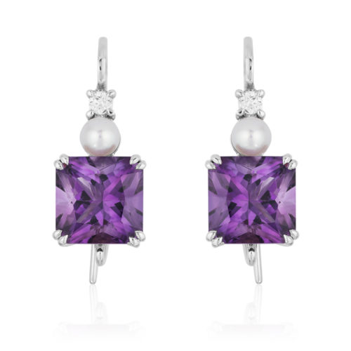 """Triple Gem """"Swan-neck"""" Earrings in 18 karat white gold featuring 6.03 carats pair of Amethyst accented by 4.5-mm white Akoya pearls and 0.12 carats of diamonds."""