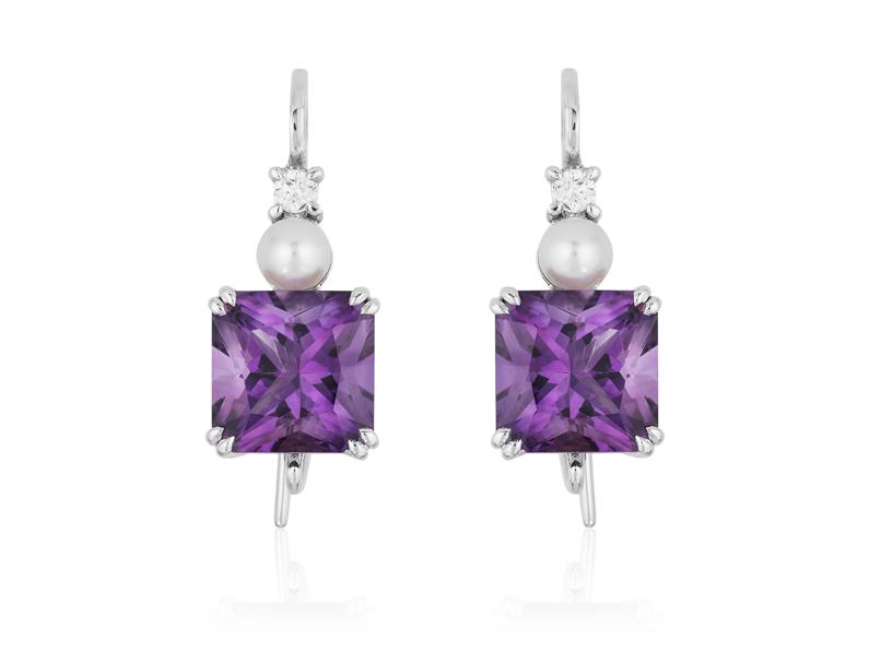 Amethyst and Pearl Earrings