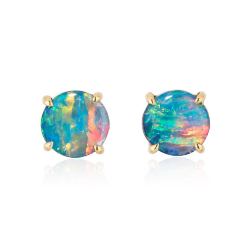 Elegant stud earring in a hand-crafted 18 karat yellow gold setting featuring pair of 1.63 carat Black Opal doublets; opals measure 7-mm round.