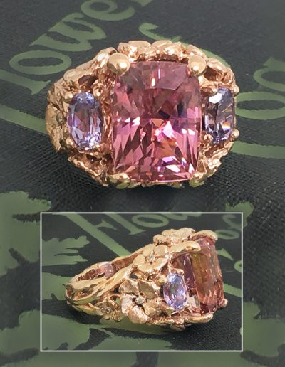 palladium featuring 14.46 ct. Pink Tourmaline accented by six kite-shaped multi-colored sapphires and diamonds