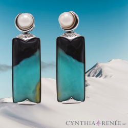 Reflecting on our Crescent Earrings featuring Opalized Wood and White Pearls