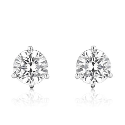 Stud Foundation Earring with 7.0 mm Cubic Zirconia