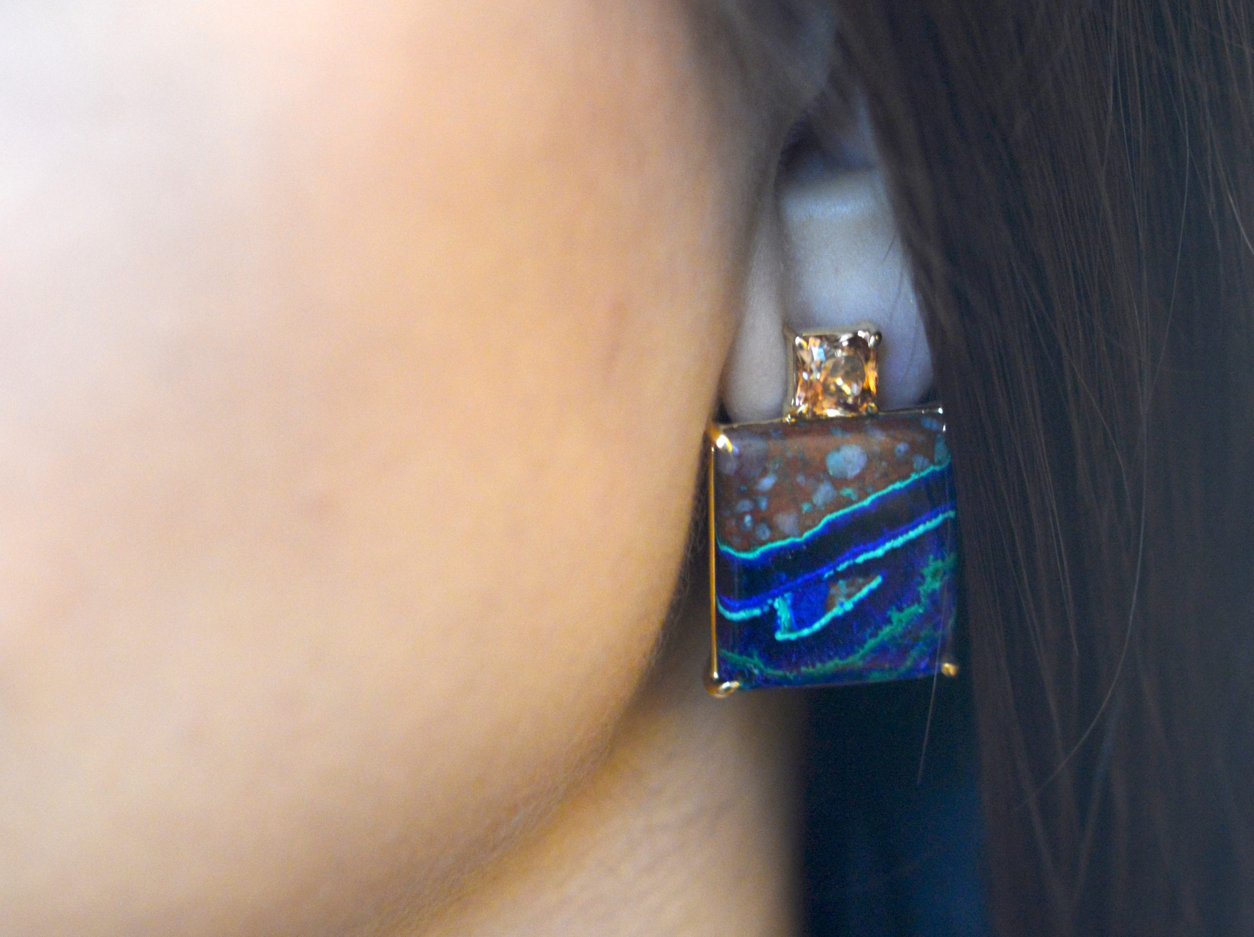 Gia Earring Featuring Natural Azurite-Malachite And Bronze Zircon