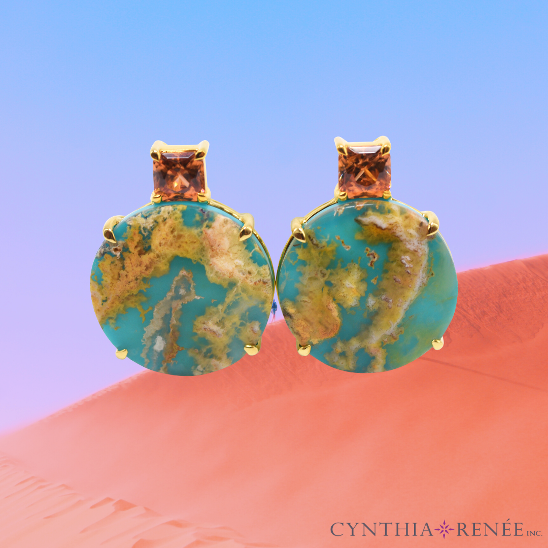 """Gia Earring Featuring """"Coral Sea Turquoise"""" And Bronze Zircon"""