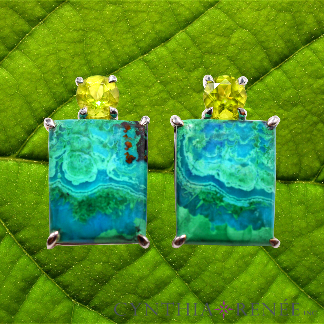 Gia Earring Featuring Natural Chrysocolla-Malachite And Peridot