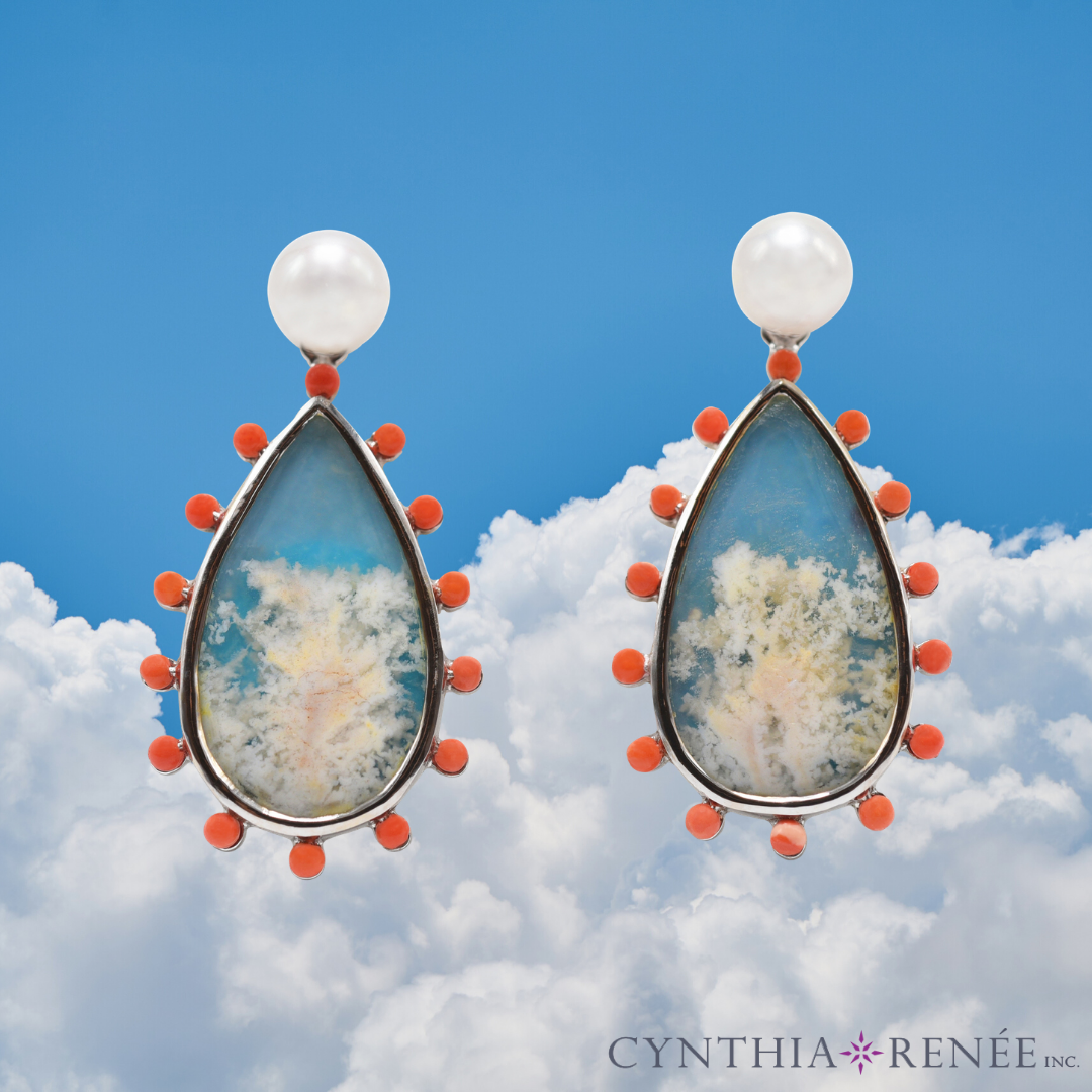 "Phoenix Earring featuring ""Coral Sea Turquoise"" with Coral-colored Limestone & Freshwater Pearl"