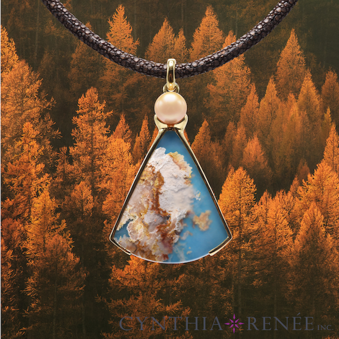 """Coral Sea Turquoise"" Pendant with Golden Pearl"