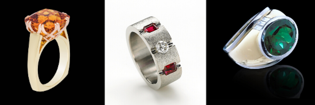 Trellis, Rubies and Diamonds and Colombian emerald rings