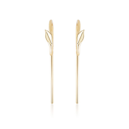 Handmade pair of swan neck earring wires with a leaf motif in 18 karat yellow gold. Handmade matters for work hardening the gold and making it stronger.