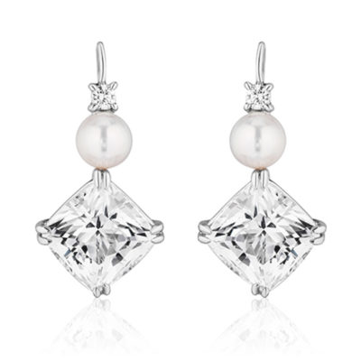 Triple Drop White topaz, Pearl and Diamond Swan Neck Earrings