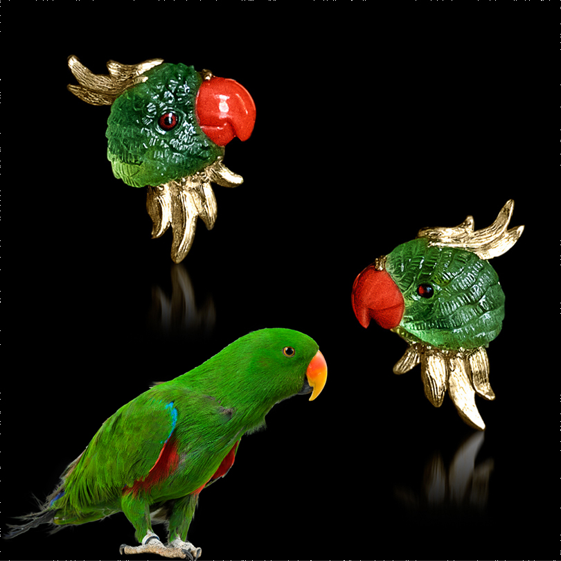 Handcarved Parrots from natural Peridot and Coral